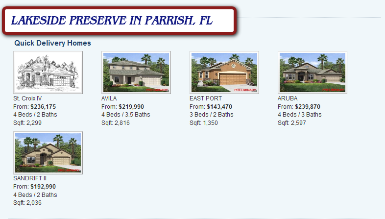NEW CONSTRUCTION HOMES IN PARRISH, FL